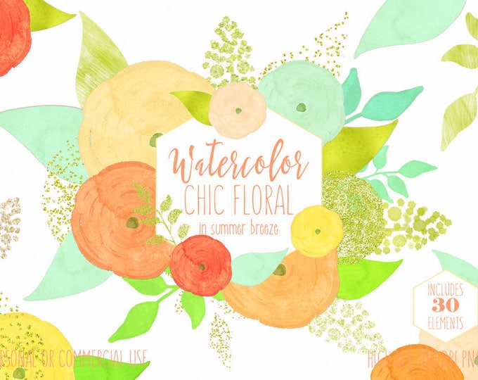 YELLOW WATERCOLOR FLORAL Clipart Commercial Use Clipart 30 Watercolour Mint Peach Metallic Gold Confetti Chic Roses Spring Flower Graphics