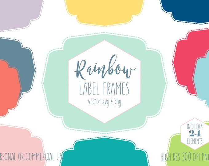 DIGITAL LABEL FRAME Clipart for Commercial Use Planner Sticker Clip Art Rainbow Colors Stitched Border Vector Digital Graphics Label Svg