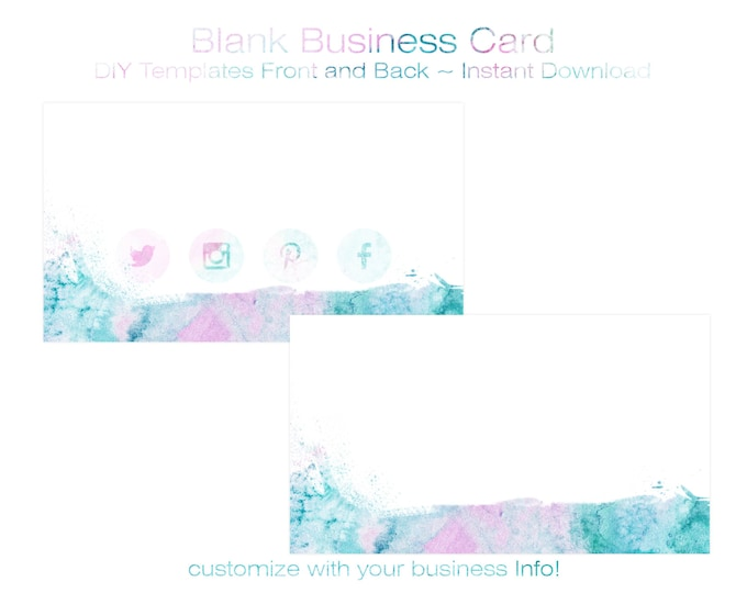 BUSINESS CARD Template - DIY Blank Business Card Standard Size - Premade Business Card Set - Pastel Pink & Aqua Watercolor with Social Icons