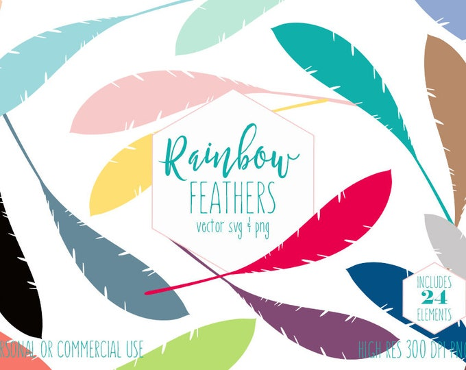 RAINBOW FEATHER CLIPART for Commercial Use Planner Sticker Clip Art Bohemian Tribal Bird Feathers Boho Chic Digital Vector Graphics Svg Png