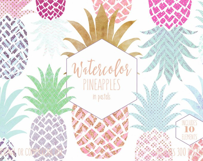 WATERCOLOUR PINEAPPLE CLIPART Commercial Use Clip art Fun Tropical Pineapples with Gold 10 Pastel Pineapple Planner Sticker Beach Graphics