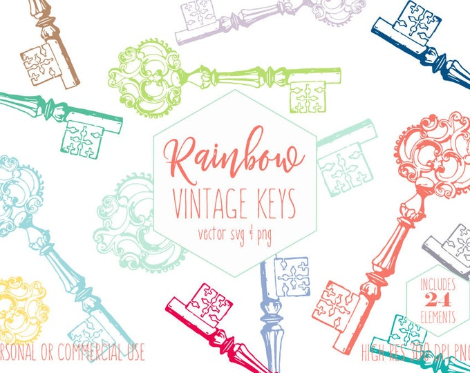 SKELETON KEY Clipart for Commercial Use Victorian Era Clip Art Antique Vintage Shabby Chic Keys Rainbow Colors Vector Digital Graphics Svg