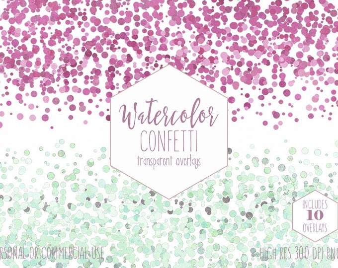 WATERCOLOR CONFETTI BORDER Clipart Commercial Use Clip Art Confetti Dot Transparent Overlay Mint Pink Purple Birthday Party Wedding Graphics