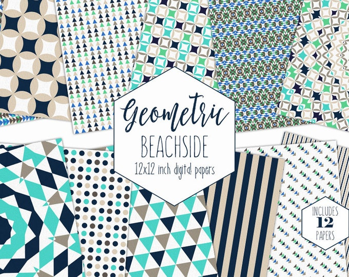 NAVY BLUE & AQUA Beach Digital Paper Pack Geometric Backgrounds Triangle Stripe Dot Scrapbook Papers Ocean Patterns Party Printable Clipart