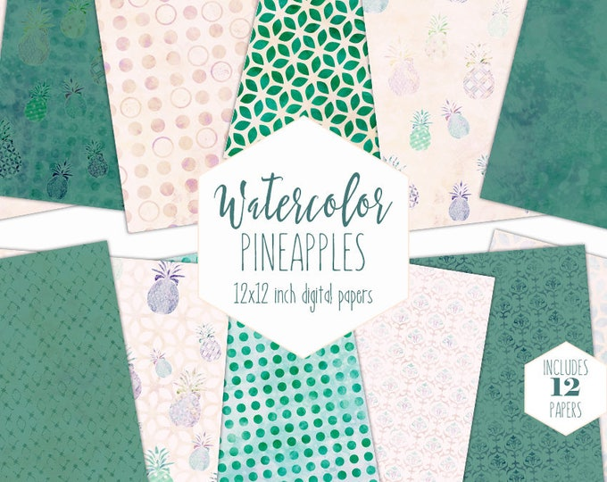TEAL GREEN PINEAPPLE Digital Paper Pack Commercial Use Tropical Fruit Backgrounds Peach Geometric Scrapbook Papers Beach Watercolor Patterns