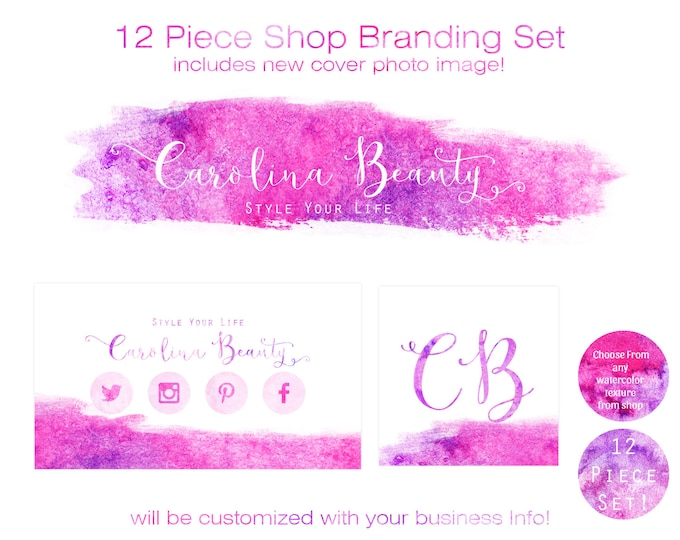 Watercolor BUSINESS BRANDING SET -Choose Your Font- Cover Photo Etsy Shop Set Banner Logo Business Card Watercolor Brush Strokes Shop Set