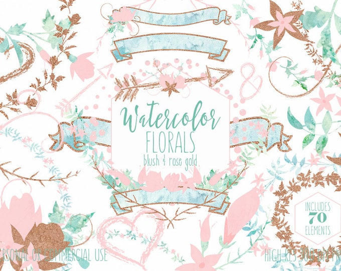 WATERCOLOR FLORAL WEDDING Clipart Commercial Use Clip Art Mint Blush Pink & Rose Gold Metallic Flower Bouquets Floral Wreaths Banners Arrows