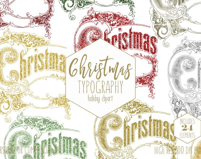 CHRISTMAS TYPOGRAPHY Clipart for Commercial Use Silver & Gold Holiday Clip Art Vintage Christmas Wordart Hand Lettered Word Digital Graphics