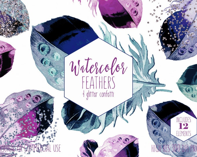 BOHEMIAN FEATHERS Clipart Commercial Use Clip Art Pink Teal Purple Navy Blue Feathers Silver Rose Gold Confetti Watercolor Feather Graphics