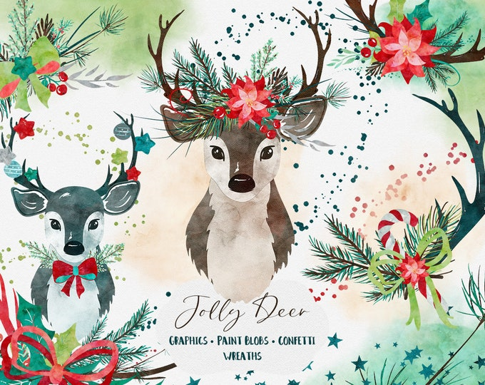 JOLLY DEER Christmas Clipart for Commercial Use Red Green & Teal Holiday Clip Art Wreaths Antlers Brush Strokes Confetti Watercolor Graphics