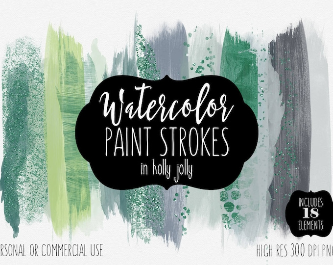 GREEN PAINT STROKES Clip Art Commercial Use Clipart Watercolor Brush Stroke Christmas Holiday Emerald Green Confetti Watercolour Graphics