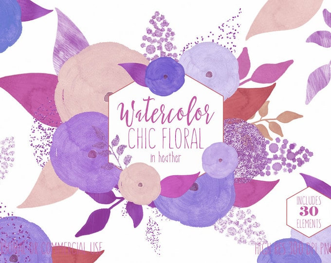 PURPLE WATERCOLOR FLORAL Clipart Commercial Use Clipart Modern Lavender Ultra Violet Flowers Metallic Confetti Glitter Rose Wedding Graphics
