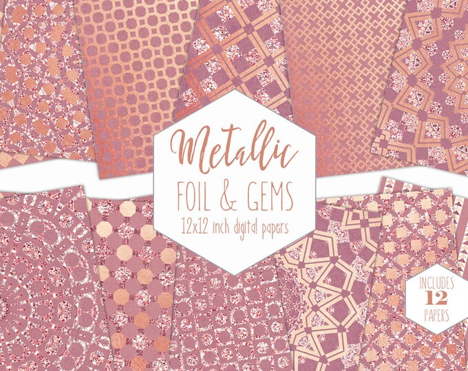 ROSE GOLD FOIL Digital Paper Pack Pink Wedding Backgrounds Metallic Bling Scrapbook Paper Gem Pattern Party Printable Commercial Use Clipart
