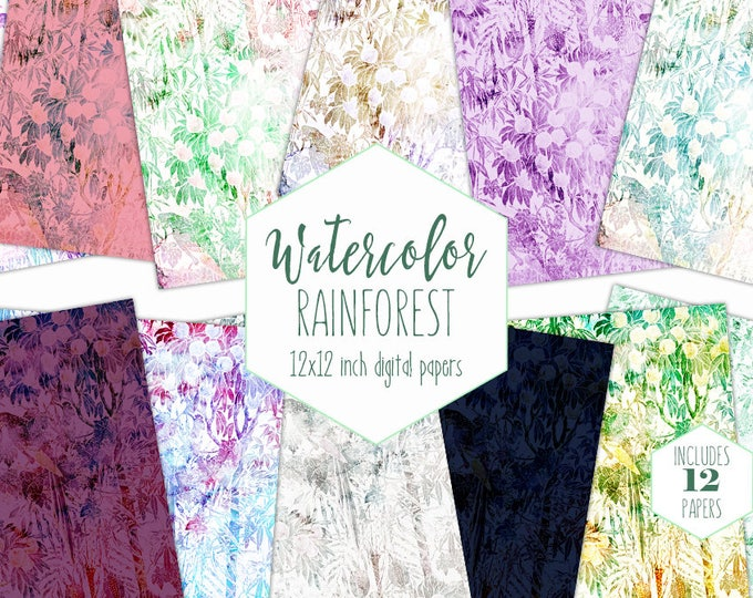 WATERCOLOR FRUIT TREES Digital Paper Pack Commercial Use Tropical Backgrounds Rainforest Scrapbook Papers Watercolour Jungle Bird Patterns