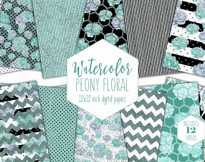 TEAL PEONY FLOWERS Digital Paper Pack Commercial Use Watercolor Floral Backgrounds Peonies Scrapbook Paper Metallic Glitter Stripe Patterns
