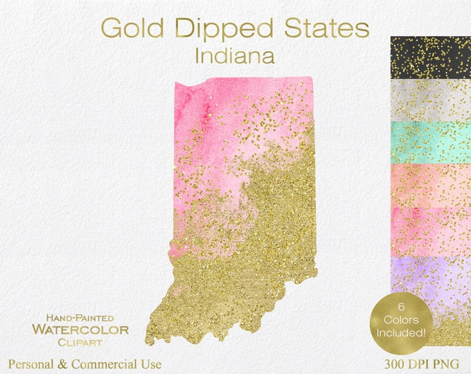 WATERCOLOR & GOLD INDIANA Clipart Commercial Use Clipart United States Shape Wedding Clipart Gold Confetti Dust Indiana State Clip Art