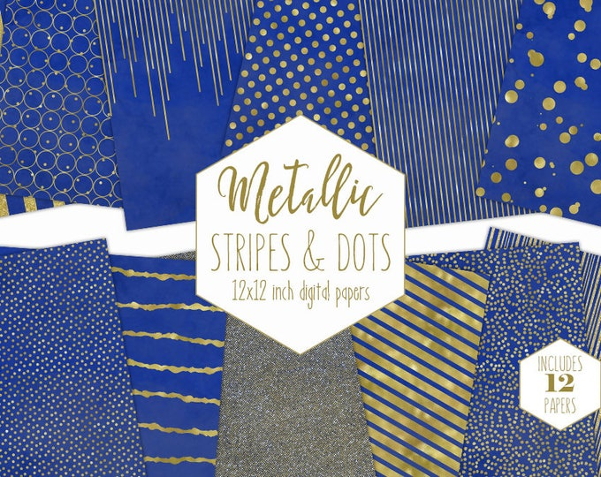 BLUE & GOLD FOIL Digital Paper Pack Stripe Backgrounds Metallic Confetti Scrapbook Paper Polka Dot Wedding Patterns Party Printable Clipart