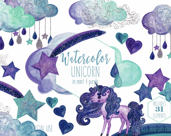 PURPLE UNICORN Clipart Commercial Use Clip Art Mint Navy Blue Watercolor Unicorn Rain Clouds Rainbow Shooting Star Glitter Confetti Graphics