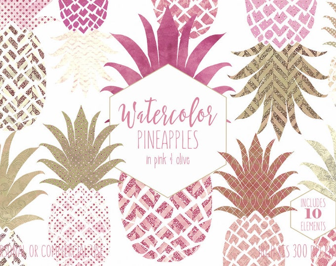 PINK PINEAPPLE CLIPART Commercial Use Clip Art Tropical Fruits Rose Gold Metallic Watercolor Geometric Pineapples Planner Sticker Graphics