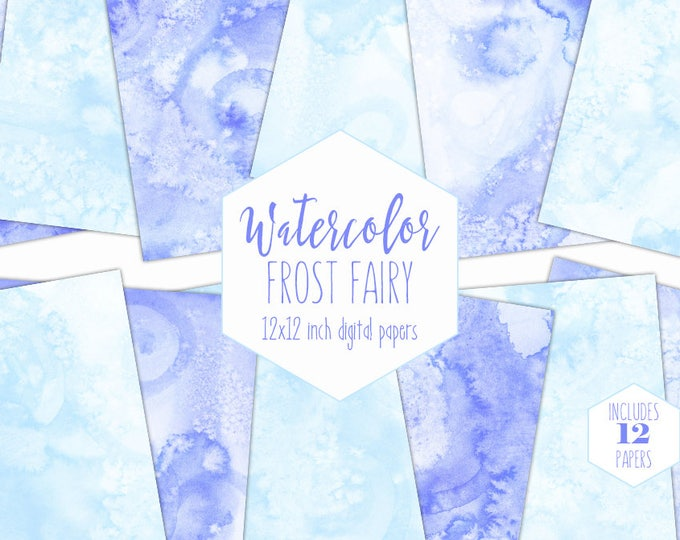 BABY BLUE WATERCOLOR Digital Paper Pack Commercial Use Sky Backgrounds Winter Swirl Scrapbook Papers Real Watercolour Wash Textures Clipart