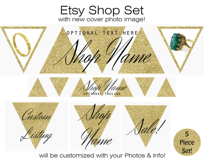 Metallic GOLD ETSY SHOP Set Banner Icon Cover Photo - CHoose Your Font- Gold Triangles Jewelry Boutique Shop Modern Branding Customized
