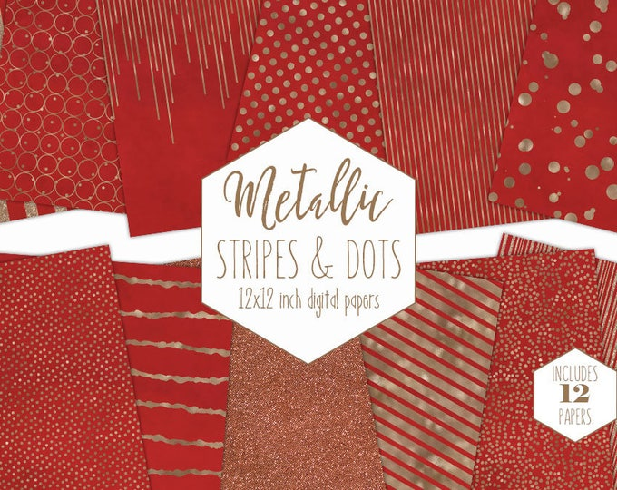 RED & ROSE GOLD Digital Paper Pack Stripe Backgrounds Metallic Foil Confetti Scrapbook Papers Polka Dot Christmas Party Holiday Clipart