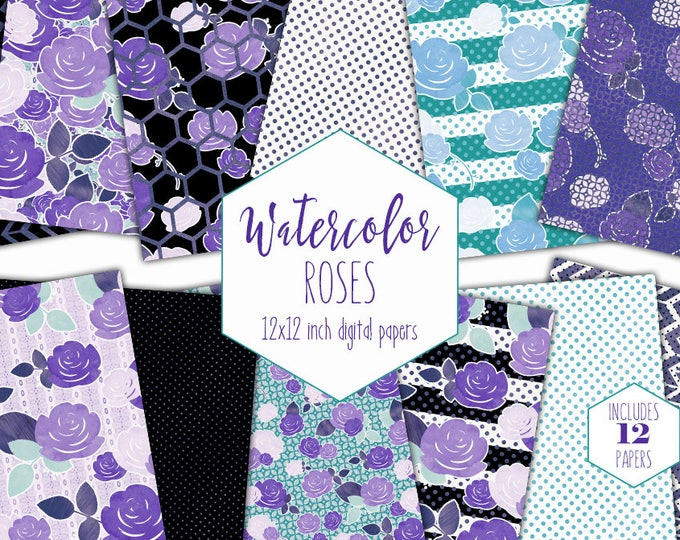 PURPLE WATERCOLOR FLORAL Digital Paper Pack Commercial Use Scrapbook Background Papers Roses Flowers Stripes Polka Dot Hexagon Digital Paper