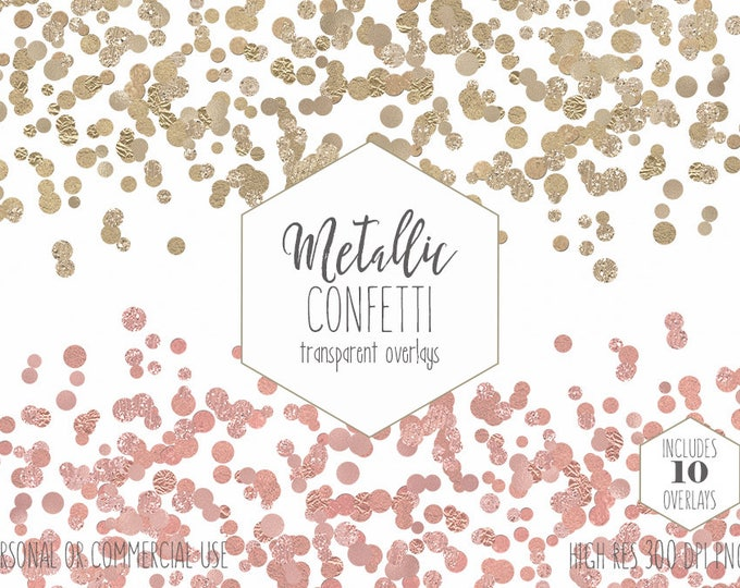 GOLD FOIL CONFETTI Clipart Commercial Use Clip Art Confetti Border Overlays Metallic Rose Gold Party Wedding Invitation Digital Graphics