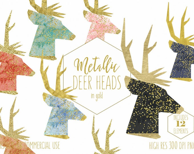 GOLD METALLIC DEER Clipart for Commercial Use Clip Art Watercolor Buck Head Images with Gold Confetti Antlers Christmas Digital graphics