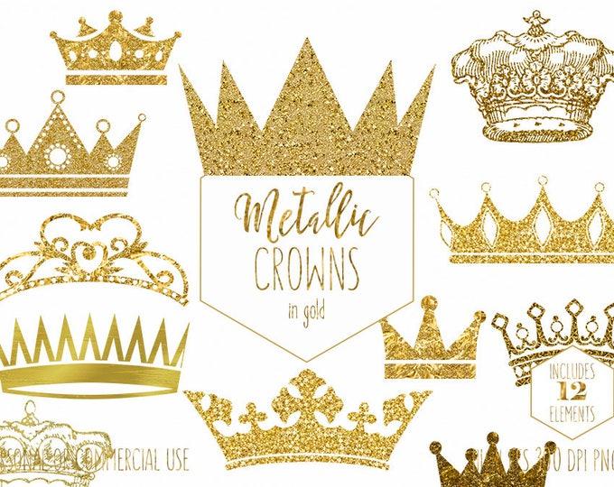 GOLD CROWN CLIPART Commercial Use Clip Art Antique Vintage Crowns Metallic Gold Glitter & Foil Princess Prince King Queen Digital Graphics