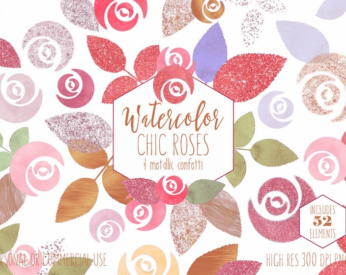 BLUSH & ROSE GOLD Watercolor Floral Clipart Commercial Use Clip Art 52 Pink Roses and Metallic Confetti Flowers Wedding Invitation Graphics