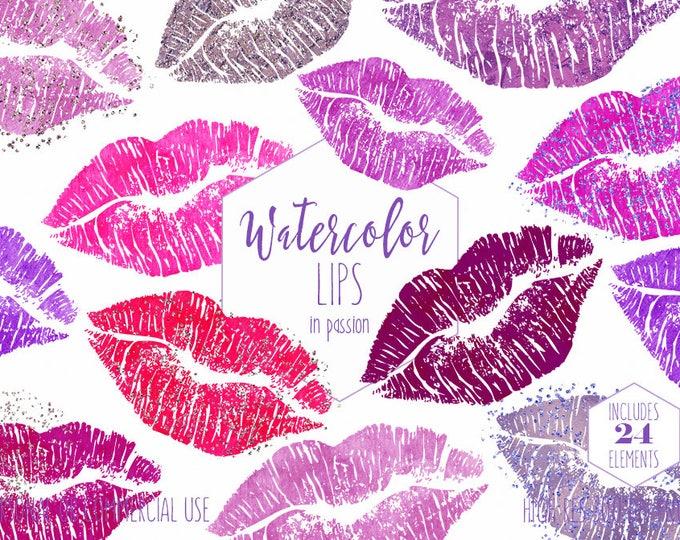 WATERCOLOR LIPS Clipart Commercial Use Clip Art 24 Watercolour Kissing Lip Kisses Pink Purple Confetti Lipstick Kiss Smear Smudge Graphics