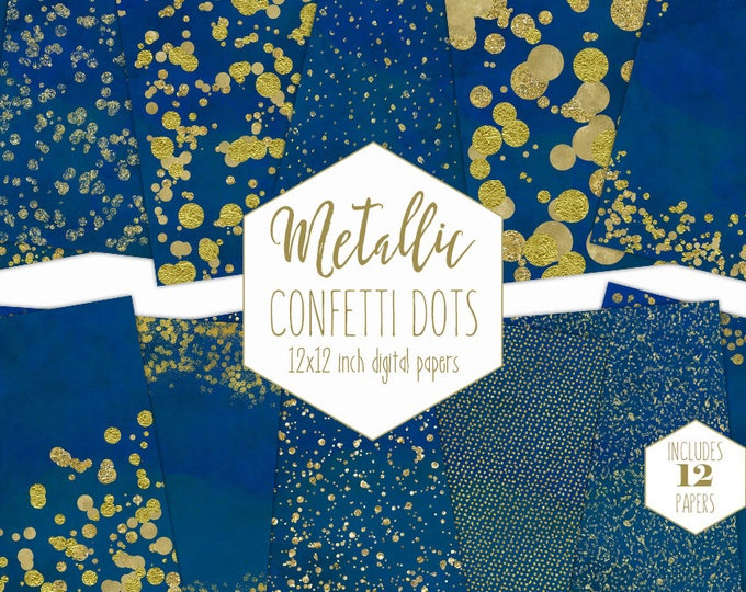 GOLD FOIL & BLUE Digital Paper Pack Confetti Backgrounds Metallic Royal Blue Scrapbook Paper Birthday Pattern Party Printable Commercial Use