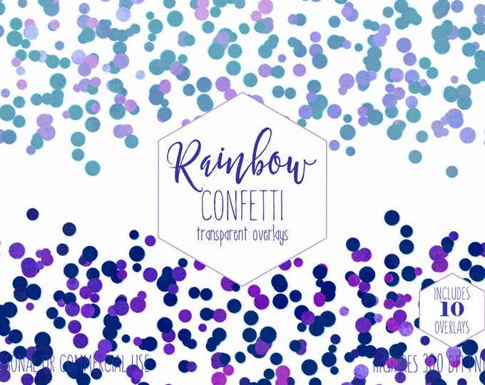 PARTY CONFETTI OVERLAY Clipart for Commercial Use Clip Art Transparent Borders Purple & Blue Birthday Wedding Invitation Digital Graphics