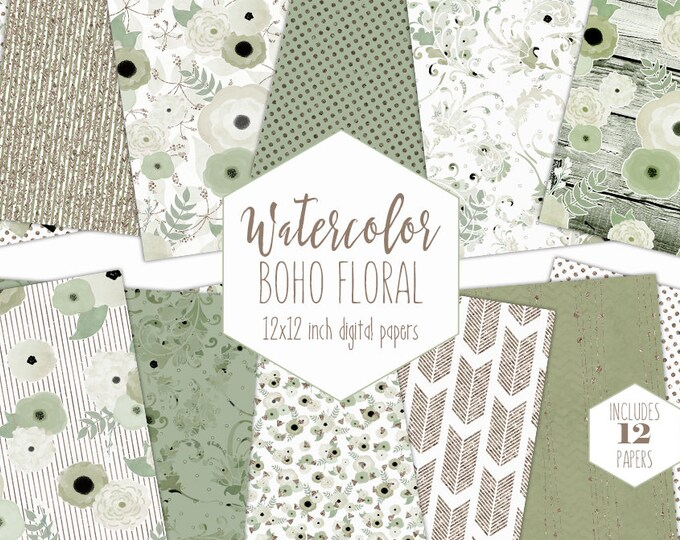 SAGE WATERCOLOR FLORAL Digital Paper Pack Green & Rose Gold Metallic Commercial Use Backgrounds Flower Scrapbook Paper Boho Wedding Patterns