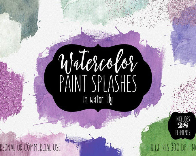 WATERCOLOR PAINT SPLASH Clipart Commercial Use Clip Art 28 Purple Teal Watercolor Brush Splatters Silver Confetti Textures Logo Graphics