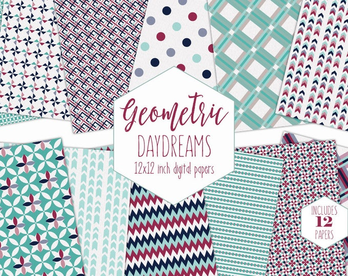 NAVY BLUE & MINT Digital Paper Pack Commercial Use Geometric Backgrounds Burgundy Plaid Scrapbook Paper Party Printable Arrow Dot Patterns