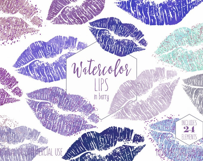 WATERCOLOR LIPSTICK Clipart Commercial Use Clip Art 24 Metallic Kissing Lips Graphics Purple Blue Confetti Makeup Smear Smudge Blog Clipart