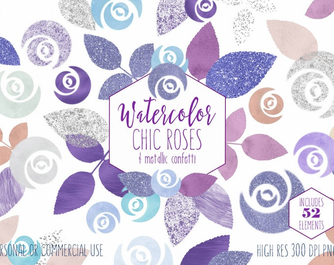 CHIC WATERCOLOR ROSE Clipart Commercial Use Clip Art 52 Watercolor Floral Purple Lavender Blue Confetti Watercolor Flower Wedding Graphics