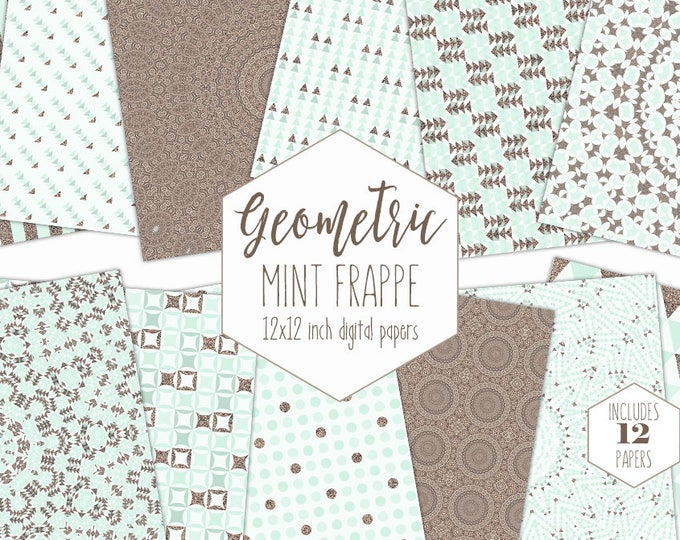 ROSE GOLD & MINT Digital Paper Pack Mandala Backgrounds Bohemian Scrapbook Paper Arrow Triangle Boho Patterns Party Printable Tribal Clipart