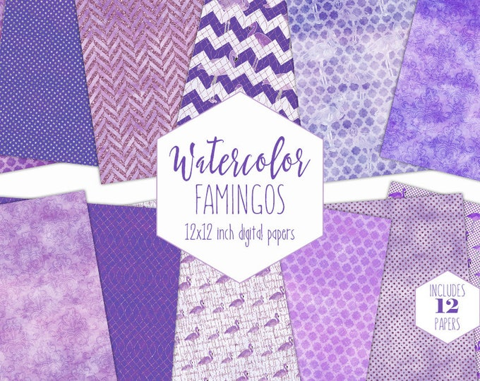 PURPLE WATERCOLOR TROPICAL Digital Paper Pack Commercial Use Flamingo Clipart Backgrounds Metallic Scrapbook Paper Watercolor Beach Patterns