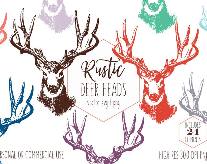 BUCK DEER HEAD Clipart for Commercial Use Rustic Antlers Clip Art Woodland Forest Stag Rainbow Colors Animal Vector Digital Graphics Svg