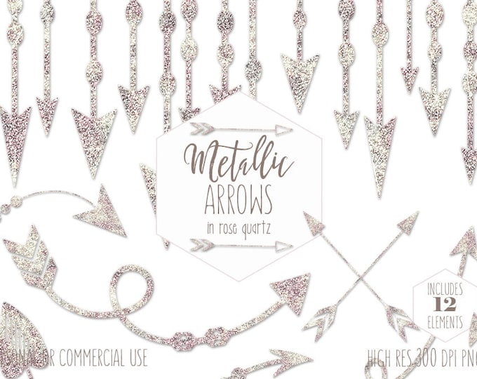 ROSE QUARTZ ARROW Clipart for Commercial Use Planner Clip Art Metallic Rose Gold Arrow Tribal Wedding Invitation Blush Pink Digital graphics