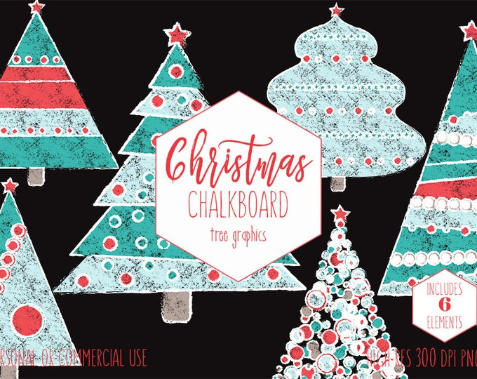CHRISTMAS TREE Clipart for Commercial Use Chalkboard Holiday Clip Art for Kids Red & Teal Cute Christmas Trees Invitation Digital Graphics