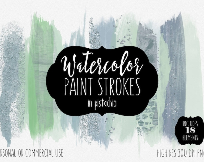 MINT PAINT STROKES Clip Art Commercial Use Clipart Watercolor Brush Stroke Christmas Gray Green Confetti Watercolour Texture Logo Graphics