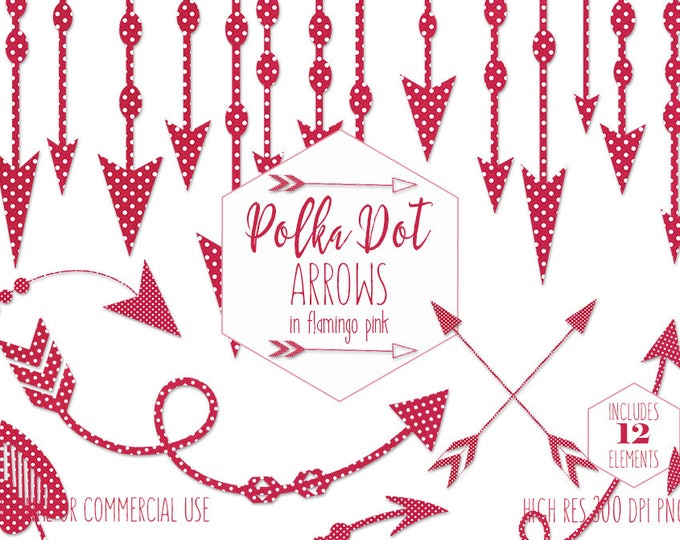 HOT PINK ARROW Clipart for Commercial Use Bohemian Planner Sticker Clip Art Tribal Border & Banner Bright Pink Polka Dot Digital Graphics