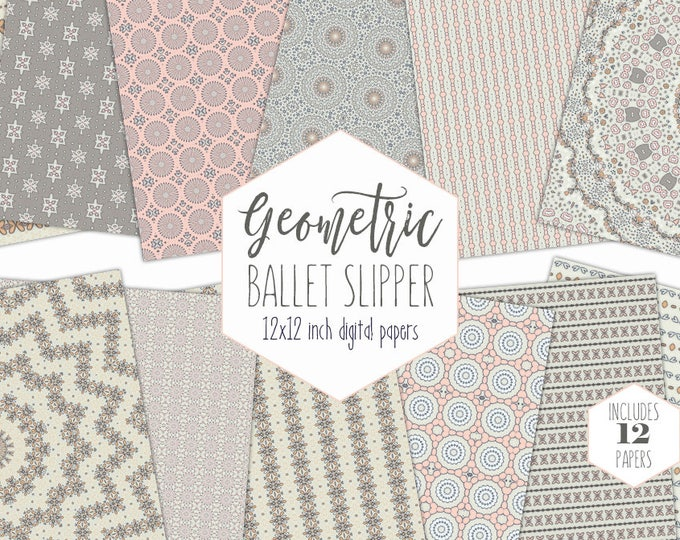 PEACH & BLUSH PINK Digital Paper Pack Baby Girl Backgrounds Butterfly Floral Scrapbook Papers Gray Bohemian Mandala Patterns Nursery Clipart