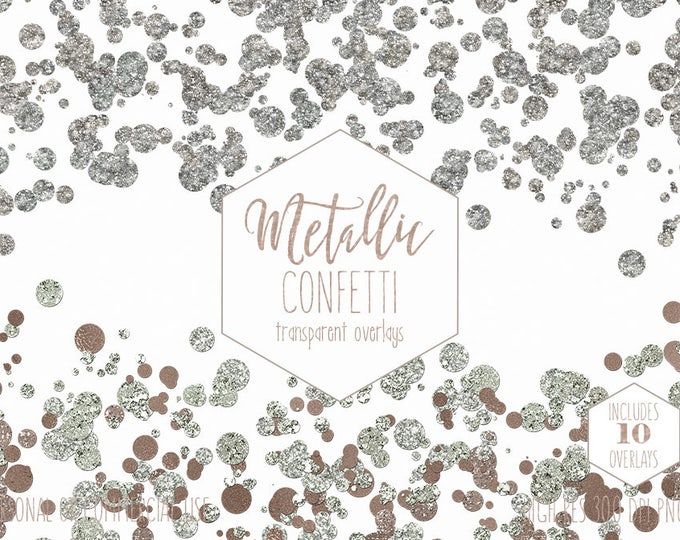 ROSE GOLD CONFETTI Clipart for Commercial Use Clip Art Transparent Mint Borders Overlays Metallic Wedding Invitation Party Digital Graphics