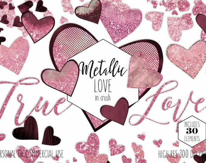 BLUSH PINK VALENTINE'S Day Hearts Clipart Commercial Use Clip Art Love Burgundy Metallic Glitter Heart Confetti Wedding Invitation Graphics