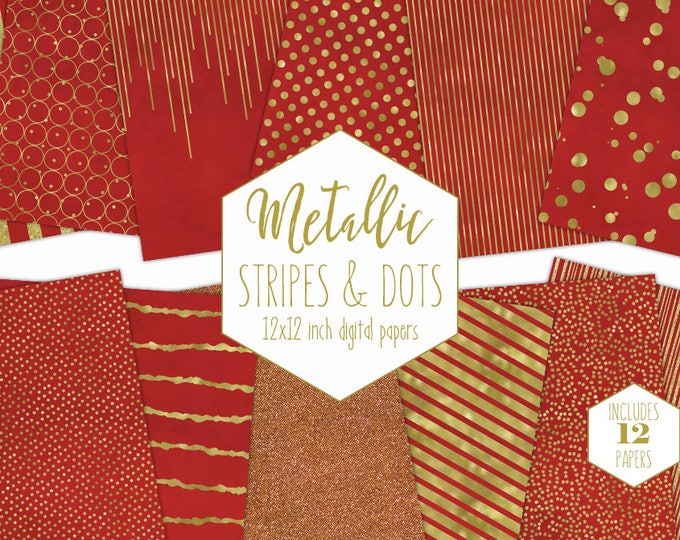 RED & GOLD FOIL Digital Paper Pack Stripe Backgrounds Metallic Confetti Scrapbook Paper Polka Dot Christmas Patterns Party Printable Clipart